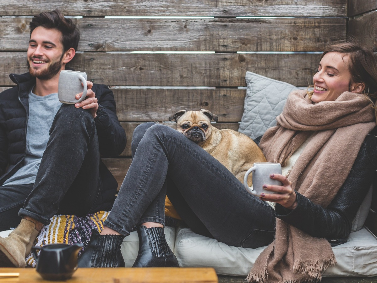 Amis réunis dans une cabane avec un chien