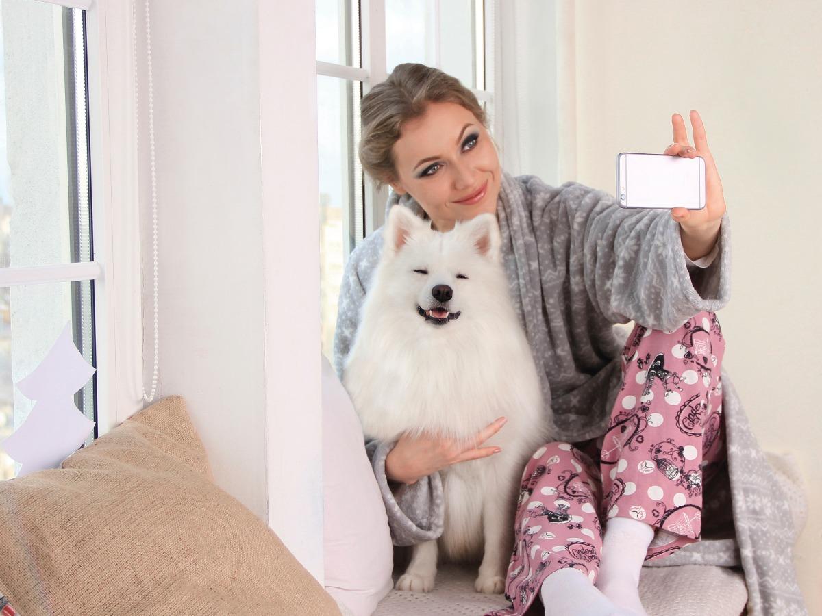 Petsitter prenant une photo d'un chien chez lui